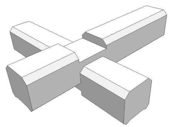 Двухстороннее соединение бруса