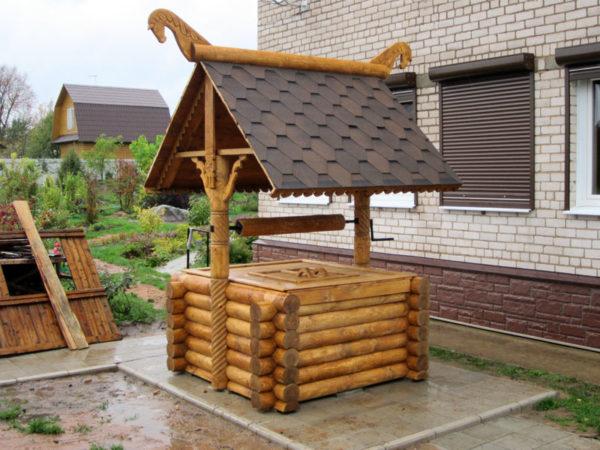 На фото – домик для колодца в виде сруба