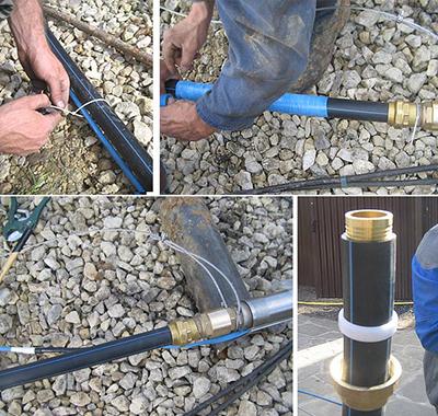 Поэтапный процесс крепления насоса на трубу с фиксацией троса