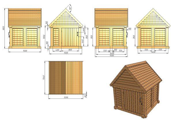 Схема домика с боковыми дверцами