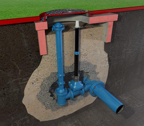 Схема установки в колодце пожарного гидранта и подключения водопровода