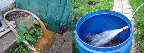 Слив воды в канаву или в пескоуловитель