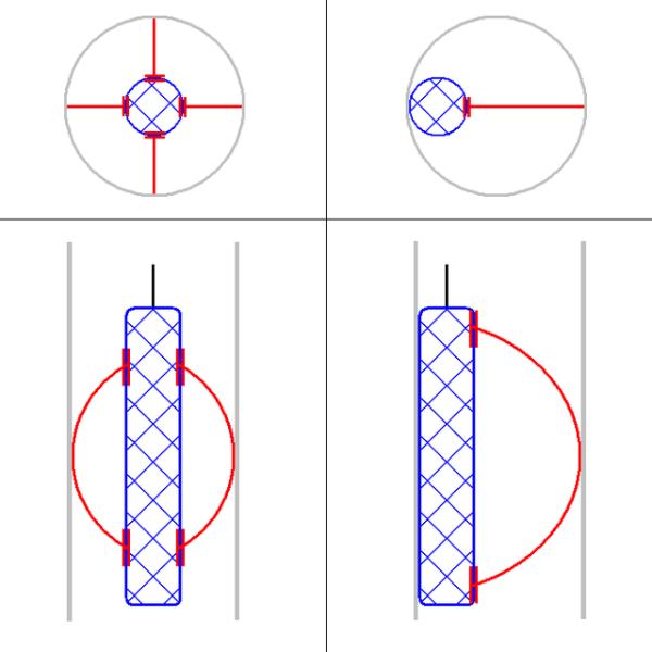 Зонд можно регулировать относительно стен скважины при помощи рессор
