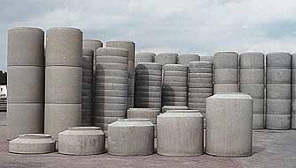 Ассортимент бетонных изделий.