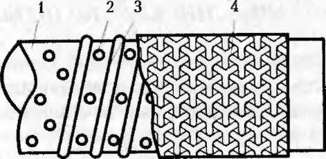 Делаем отверстия в трубе: 1-труба, 2-отверстия, 3-проволочная обмотка, 4-сетка из металла.