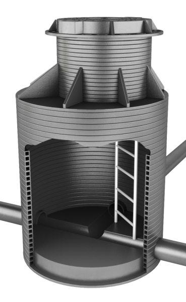 Для увеличения кольцевой жесткости и улучшения теплоизоляции это изделие выполнено с двойными стенками.