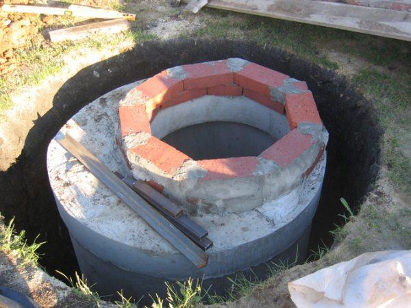 Готовая конструкция из бетонных колец