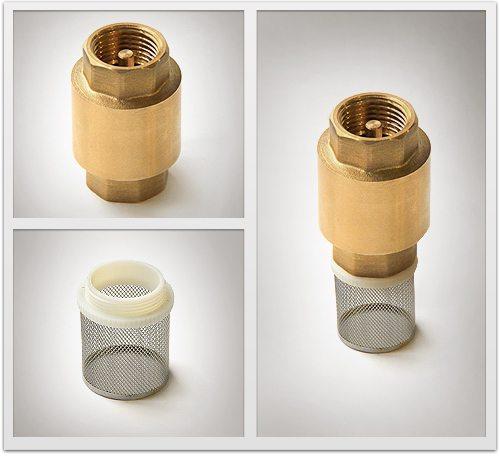 Монтируют фильтр и обратный клапан.