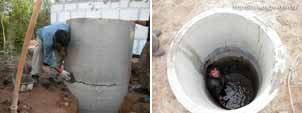 На фото первые шаги монтажа – установка бетонных колец