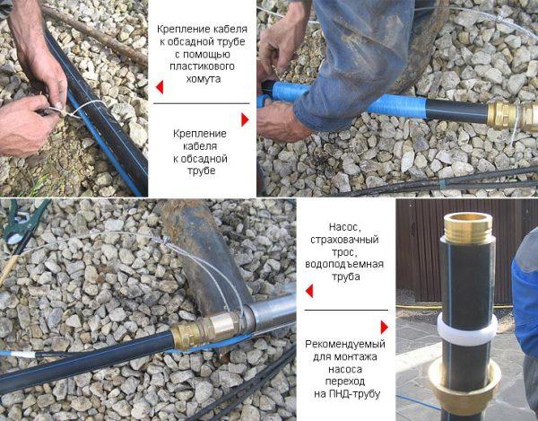 На фото пошагово показано, как крепится труба для насоса скважины.