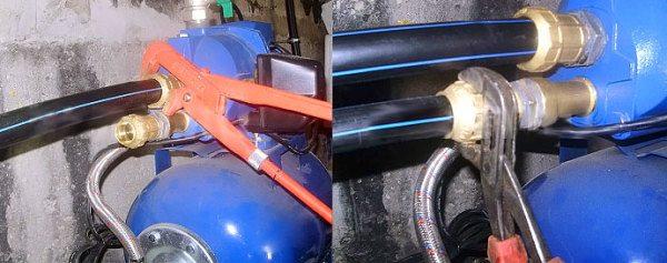 Подключение центробежного электрического насоса к насосной станции через отверстие с крышкой для заливки водой.