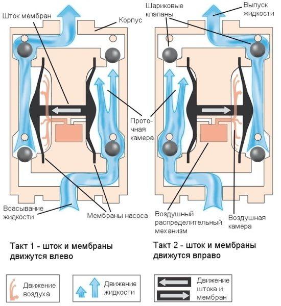 Принцип работы мембранного насоса.
