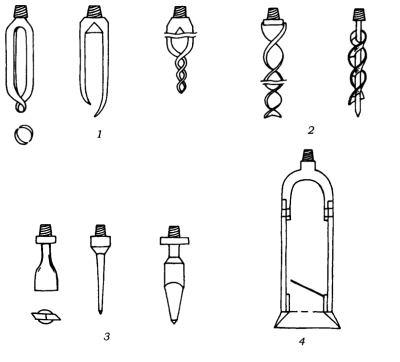 Разные типы бурильных снарядов.