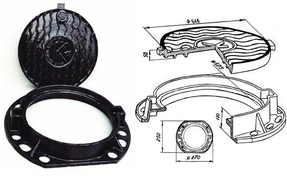 Схема и размеры чугунного люка с крышкой
