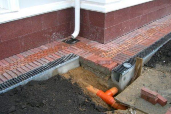 Уклон и направление отвода дождевой воды вы задаете сами.