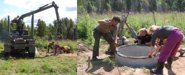 Установка первого бетонного кольца в шахту