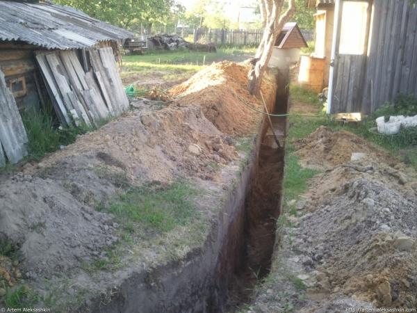 Земляные работы для устройства водопроводной системы